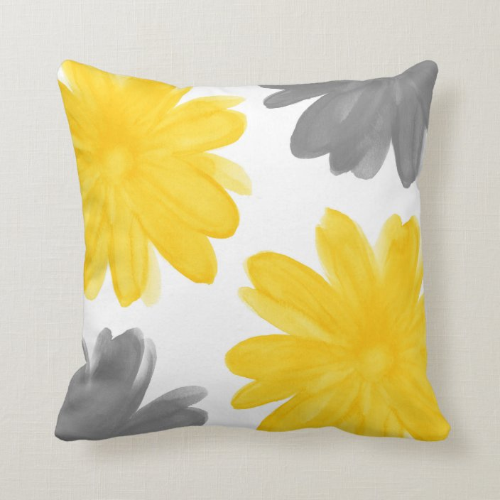 Yellow Gray Watercolor Flowers Throw Pillow Zazzle Com