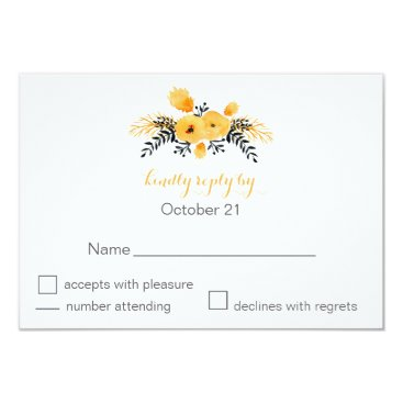 yellow gray watercolor flowers wedding RSVP cards