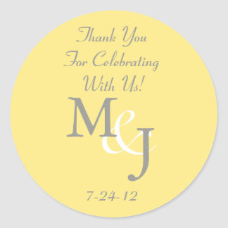 Yellow & Gray Wedding Favor Labels w/ Text Classic Round Sticker