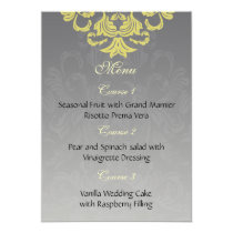 """yellow gray"" wedding menu card"
