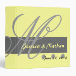 Yellow Gray Wedding Monogram Planner Photo Binder