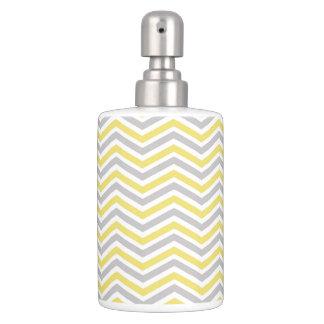 Yellow, Gray, White Chevron Stripe Bathroom Set