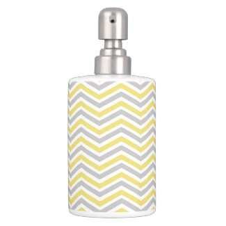 Yellow, Gray, White Chevron Stripe Bathroom Set