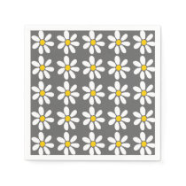 Yellow Gray White Daisy Pattern Paper Napkin