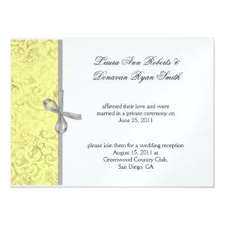 Yellow Gray White Damask Post Wedding 5.5x7.5 Paper Invitation Card