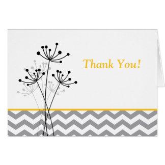 Yellow, Gray, White Floral, Chevron Thank You Card Card