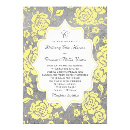 "Yellow Gray White Floral Damask Wedding Invitation 5"" X 7"