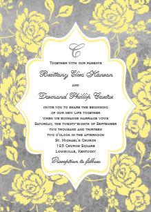 Yellow Gray White Fl Damask Wedding Invitation