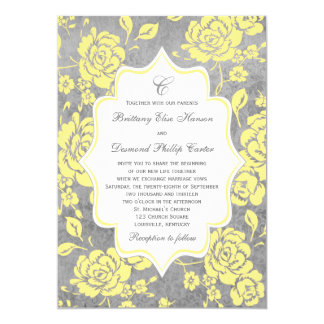 Yellow Gray White Floral Damask Wedding Invitation