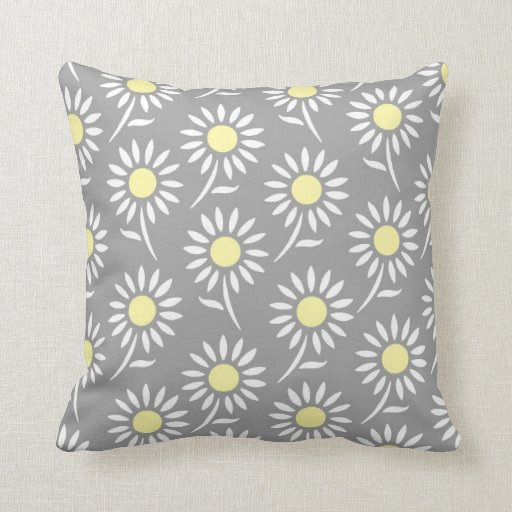 Yellow Gray White Floral Decorative Pillow Zazzle