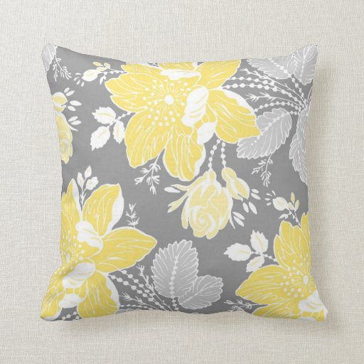 Grey And Yellow Decorative Pillows : Yellow Gray White Floral Decorative Pillow Zazzle