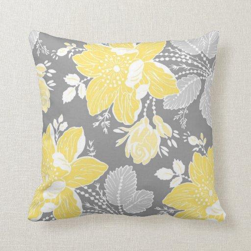 Pale Yellow Decorative Pillows : Yellow Gray White Floral Decorative Pillow Zazzle