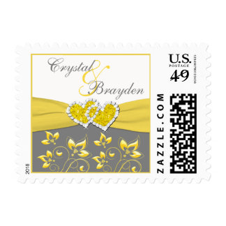 Yellow, Gray, White Floral, Hearts Wedding Postage