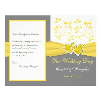 Yellow, Gray, White Floral, Hearts Wedding Program