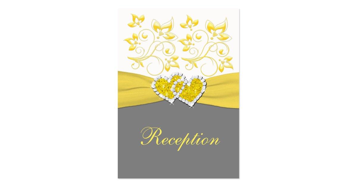Yellow gray white floral reception enclosure card zazzle