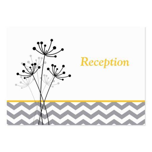 Yellow gray white floral reception enclosure card business