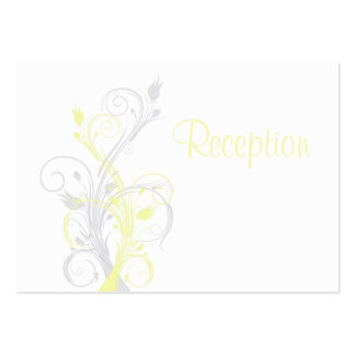 Yellow Gray White Floral Reception Enclosure Card Large Business Cards (Pack Of 100)