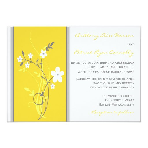 Yellow, Gray, White Floral Wedding Invitation