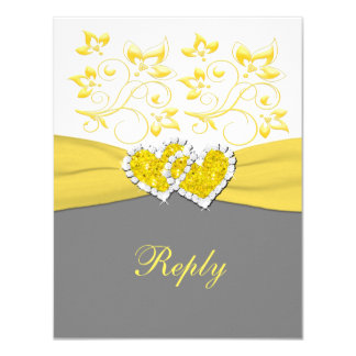 Yellow, Gray, White Joined Hearts Reply Card