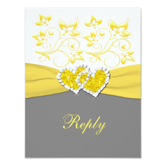 Yellow, Gray, White Joined Hearts Reply Card Personalized Invites