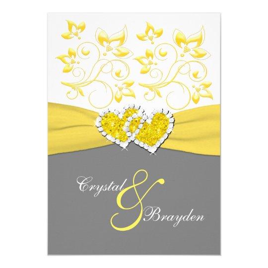 Wedding White And Yellow: Yellow, Gray, White Joined Hearts Wedding Invite