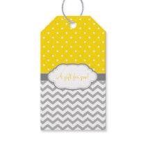 Yellow Gray White Polka Dot Chevron Gift Tags