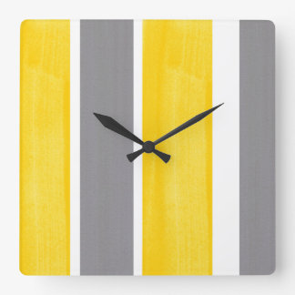 Yellow Gray White Stripe Modern 2 Square Wall Clock