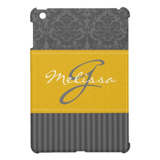 Yellow, Gray, White Striped Damask iPad Mini Case
