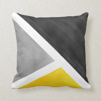 Yellow Gray White Watercolor Block Throw Pillow