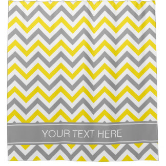 Yellow Gray Wht LG Chevron Dk Gray Name Monogram Shower Curtain