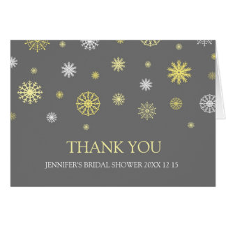 Yellow Gray Winter Bridal Shower Thank You Card