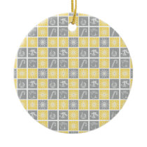 yellow gray winter holidays quilt pattern ceramic ornament