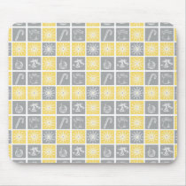 yellow gray winter holidays quilt pattern mouse pad