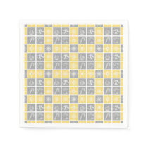 yellow gray winter holidays quilt pattern paper napkin