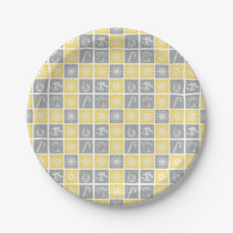 yellow gray winter holidays quilt pattern paper plate