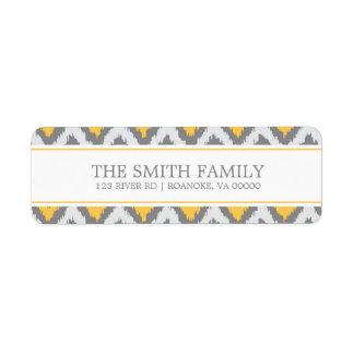 Yellow Gray Zigzag Tribal Pattern Label