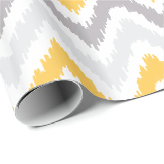 Yellow Gray Zigzags Ikat Pattern Wrapping Paper
