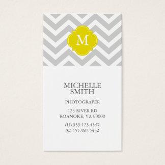 Yellow & Gray Zigzags Pattern Monogram Business Card
