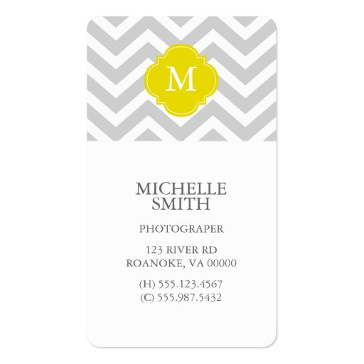 Yellow & Gray Zigzags Pattern Monogram Business Cards