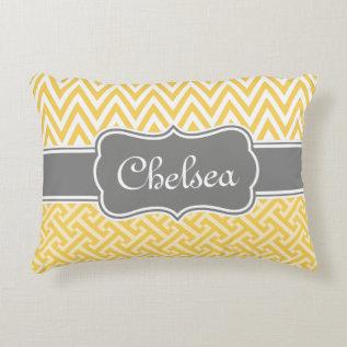 Yellow Greek Key Chevron Patterns Grey Name Accent Pillow at Zazzle