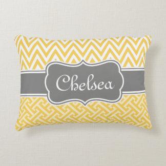 Yellow Greek Key Chevron Patterns Grey Name Accent Pillow