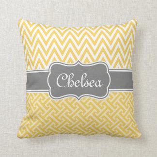 Yellow Greek Key Chevron Patterns Grey Name Throw Pillow