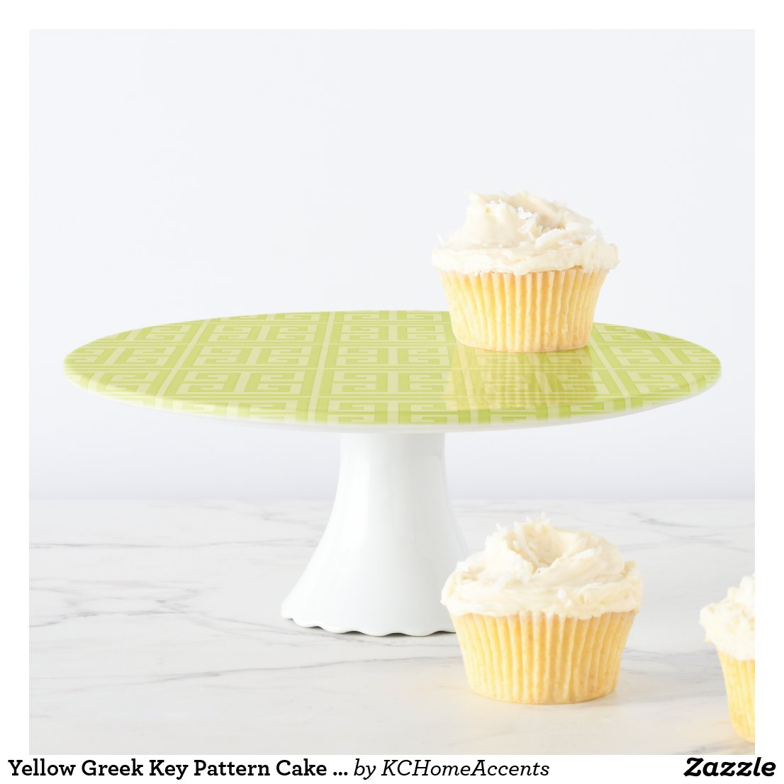 Yellow Greek Key Pattern Cake Stand
