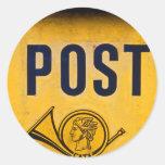 Yellow Greek Postbox Round Sticker