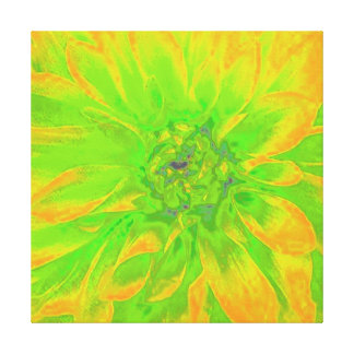 YELLOW/GREEN ABSTRACT DAHLIA FLORAL FLOWER CANVAS PRINT
