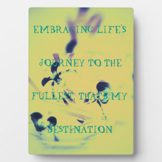 """Yellow Green Abstract """"Embracing The Journey"""" Plaque"""
