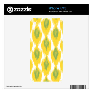 Yellow Green Abstract Tribal Ikat Diamond Pattern Decals For The iPhone 4S