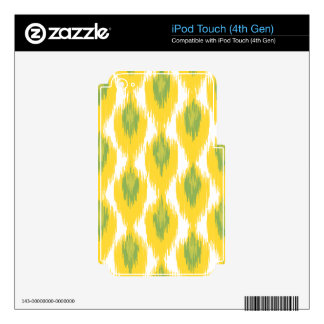 Yellow Green Abstract Tribal Ikat Diamond Pattern iPod Touch 4G Skin