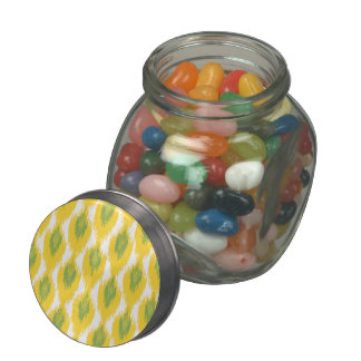 Yellow Green Abstract Tribal Ikat Diamond Pattern Jelly Belly Candy Jars