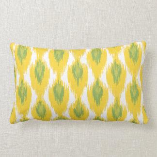 Yellow Green Abstract Tribal Ikat Diamond Pattern Lumbar Pillow